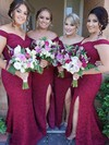 Trumpet/Mermaid Off-the-shoulder Sweep Train Lace Split Front Bridesmaid Dresses #PDS01013715