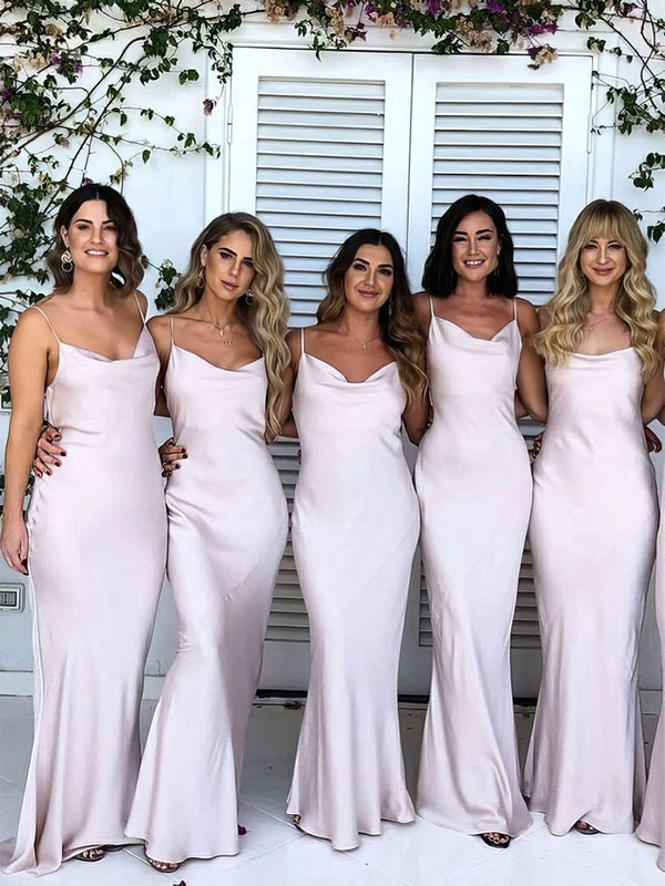 Trumpet/Mermaid Cowl Neck Floor-length Silk-like Satin Bridesmaid Dresses #PDS01013717