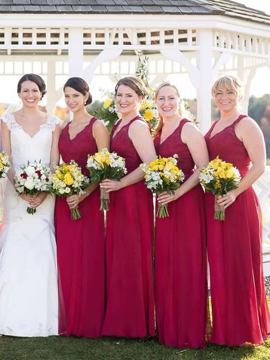 A-line V-neck Floor-length Chiffon Lace Bridesmaid Dresses #PDS01013718
