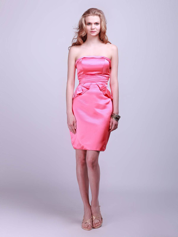 Satin Sheath/Column Strapless Short/Mini Pleats Bridesmaid Dresses #PDS02042132