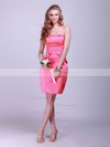 Satin Sheath/Column Strapless Short/Mini Pleats Bridesmaid Dresses #PDS02042132