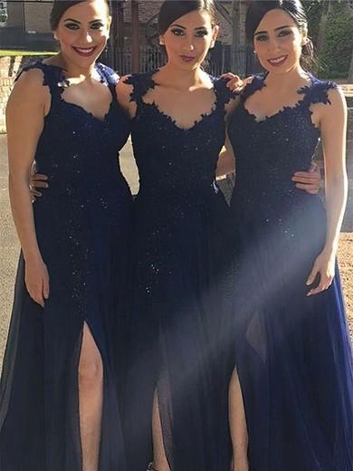 A-line V-neck Floor-length Chiffon Appliques Lace Bridesmaid Dresses #PDS01013719