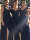 A-line V-neck Floor-length Chiffon Appliques Lace Bridesmaid Dresses #PDS01013719