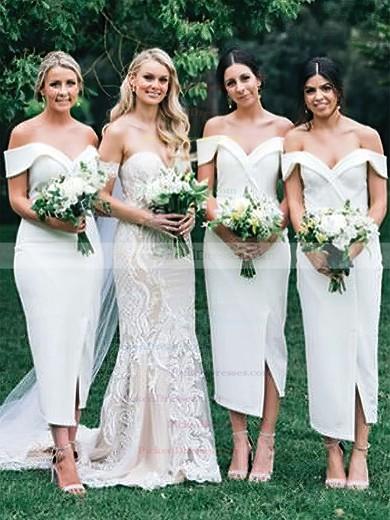 Sheath/Column Off-the-shoulder Tea-length Silk-like Satin Split Front Bridesmaid Dresses #PDS01013720