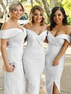 Sheath/Column Off-the-shoulder Tea-length Silk-like Satin Split Front Bridesmaid Dresses #PDS01013720