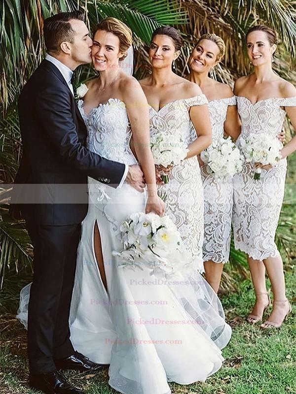 Sheath/Column Off-the-shoulder Tea-length Lace Bridesmaid Dresses #PDS01013721