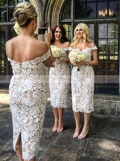 Sheath/Column Off-the-shoulder Tea-length Lace Bridesmaid Dresses #PDS01013721