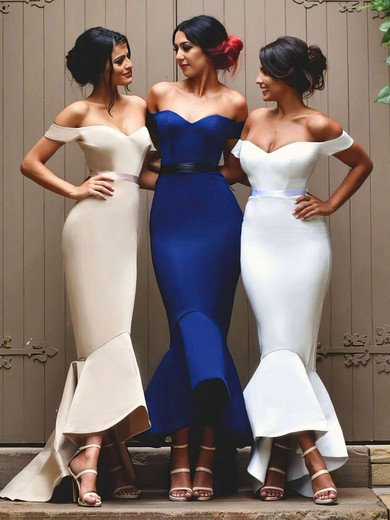 Trumpet/Mermaid Off-the-shoulder Asymmetrical Silk-like Satin Sashes / Ribbons Bridesmaid Dresses #PDS01013727