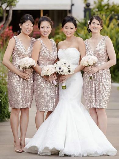 A-line V-neck Knee-length Sequined Ruffles Bridesmaid Dresses #PDS01013728