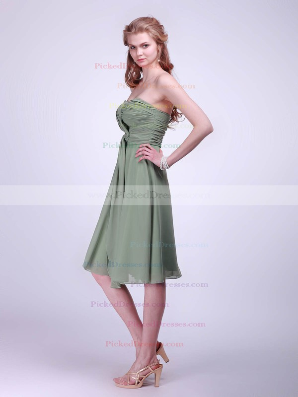 Chiffon A-line Sweetheart Knee-length Pleats Bridesmaid Dresses #PDS02042133