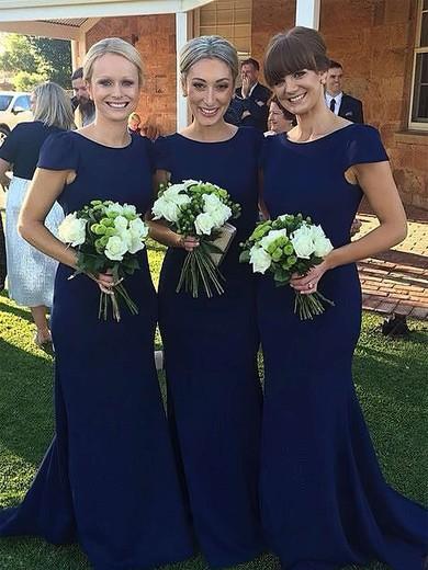 Trumpet/Mermaid Scoop Neck Sweep Train Silk-like Satin Bridesmaid Dresses #PDS01013729