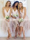 A-line V-neck Tea-length Lace Bridesmaid Dresses #PDS01013596