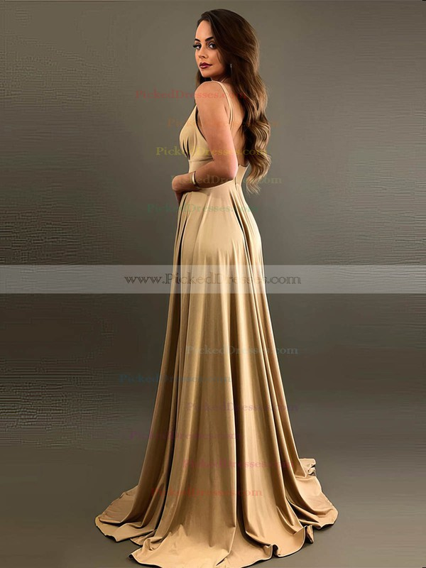A-line V-neck Sweep Train Silk-like Satin Split Front Bridesmaid Dresses #PDS01013597