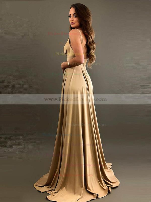 A-line V-neck Sweep Train Silk-like Satin Split Front Bridesmaid Dresses #PDS01013597