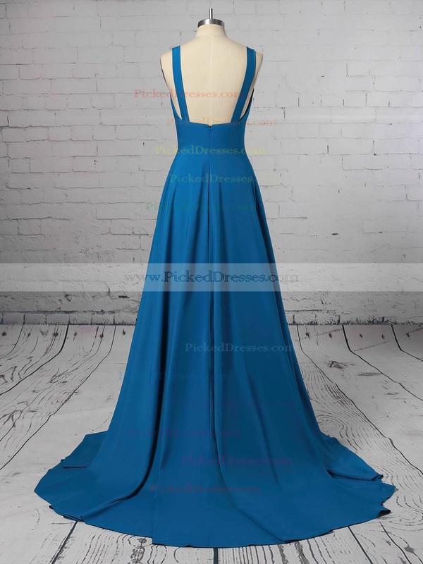 A-line V-neck Sweep Train Silk-like Satin Split Front Bridesmaid Dresses #PDS01013598