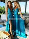 A-line V-neck Sweep Train Silk-like Satin Split Front Bridesmaid Dresses #PDS01013598