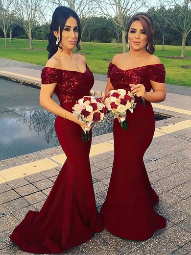 Trumpet/Mermaid Off-the-shoulder Sweep Train Sequined Silk-like Satin Bridesmaid Dresses #PDS01013599