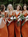 A-line V-neck Floor-length Chiffon Split Front Bridesmaid Dresses #PDS01013600