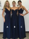 A-line V-neck Floor-length Chiffon Lace Bridesmaid Dresses #PDS01013601