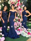 Trumpet/Mermaid Halter Sweep Train Silk-like Satin Appliques Lace Bridesmaid Dresses #PDS01013602