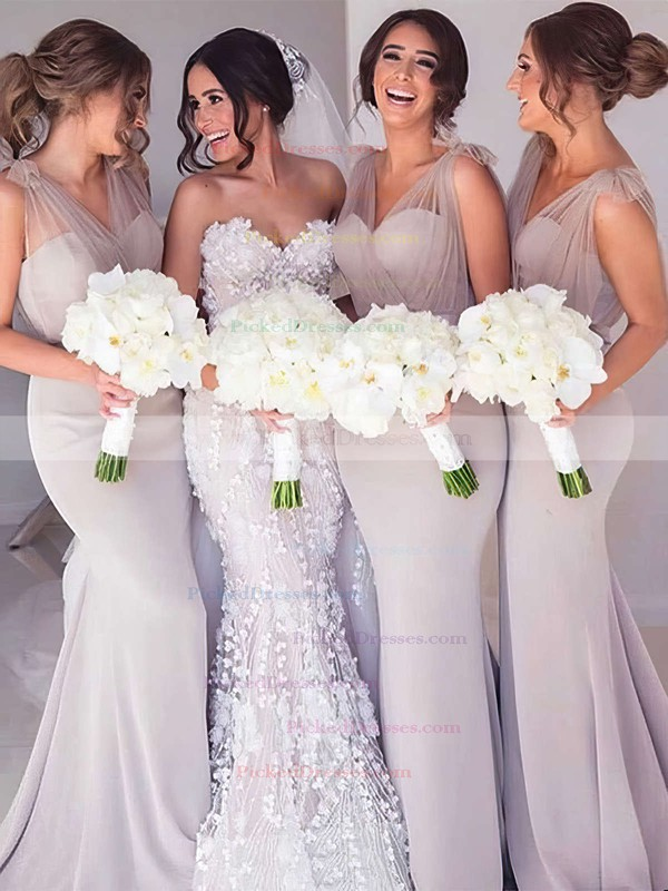 Trumpet/Mermaid V-neck Sweep Train Tulle Silk-like Satin Sashes / Ribbons Bridesmaid Dresses #PDS01013603