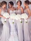 Trumpet/Mermaid V-neck Sweep Train Tulle Silk-like Satin Sashes / Ribbons Bridesmaid Dresses #PDS01013603