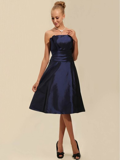 Taffeta A-line Strapless Tea-length Ruched Bridesmaid Dresses #PDS02042134