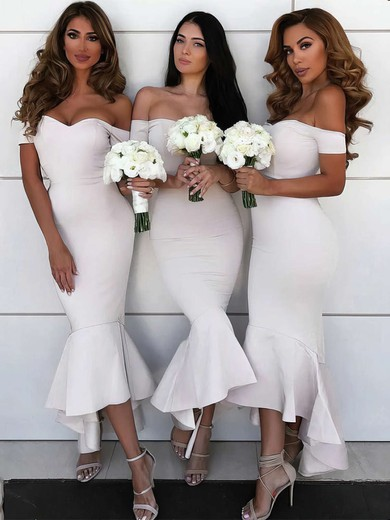 Trumpet/Mermaid Off-the-shoulder Asymmetrical Silk-like Satin Bridesmaid Dresses #PDS01013606