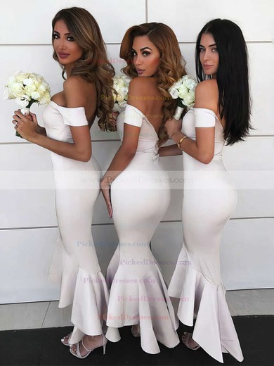 Trumpet/Mermaid Off-the-shoulder Asymmetrical Silk-like Satin Bridesmaid Dresses #PDS01013606
