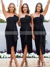 Sheath/Column Strapless Tea-length Silk-like Satin Ruffles Bridesmaid Dresses #PDS01013607
