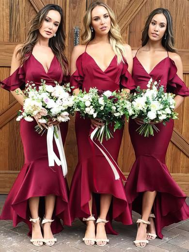 Trumpet/Mermaid V-neck Asymmetrical Silk-like Satin Ruffles Bridesmaid Dresses #PDS01013609