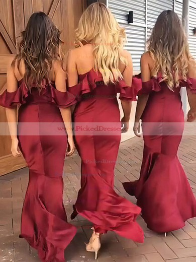 Trumpet/Mermaid V-neck Asymmetrical Silk-like Satin Ruffles Bridesmaid Dresses #PDS01013609