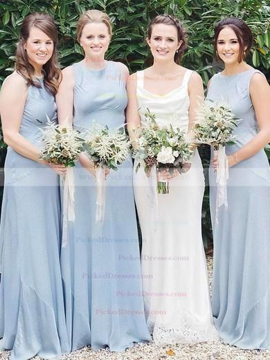 A-line Scoop Neck Floor-length Satin Chiffon Bridesmaid Dresses #PDS01013611
