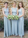 A-line Scoop Neck Floor-length Satin Chiffon Bridesmaid Dresses #PDS01013611