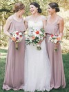 A-line Scoop Neck Floor-length Chiffon Ruffles Bridesmaid Dresses #PDS01013612