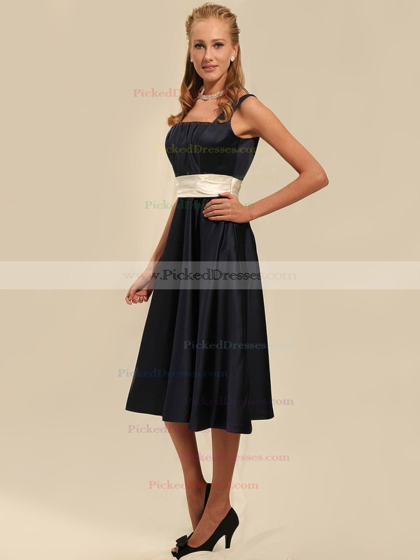 Satin A-line Square Tea-length Sashes/Ribbons Bridesmaid Dresses #PDS02042135
