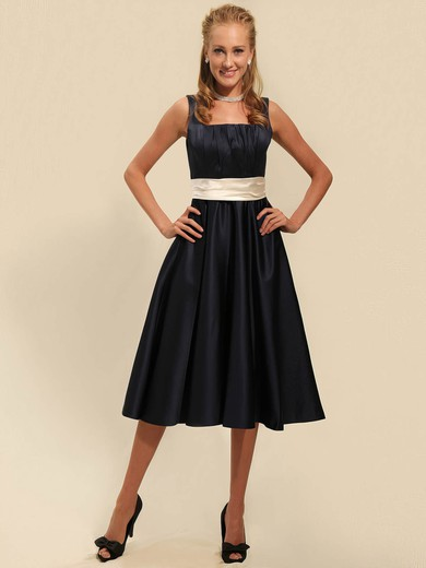 Satin A-line Square Tea-length Sashes/Ribbons Bridesmaid Dresses #PDS02042135