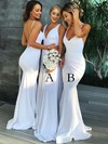 Trumpet/Mermaid V-neck Sweep Train Jersey Bridesmaid Dresses #PDS01013616