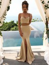 Trumpet/Mermaid Sweetheart Floor-length Silk-like Satin Split Front Bridesmaid Dresses #PDS01013617