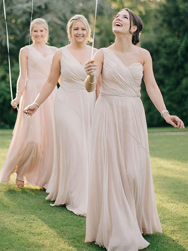 A-line One Shoulder Floor-length Chiffon Ruffles Bridesmaid Dresses #PDS01013618
