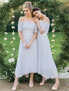 A-line Off-the-shoulder Ankle-length Lace Chiffon Sashes / Ribbons Bridesmaid Dresses #PDS01013619
