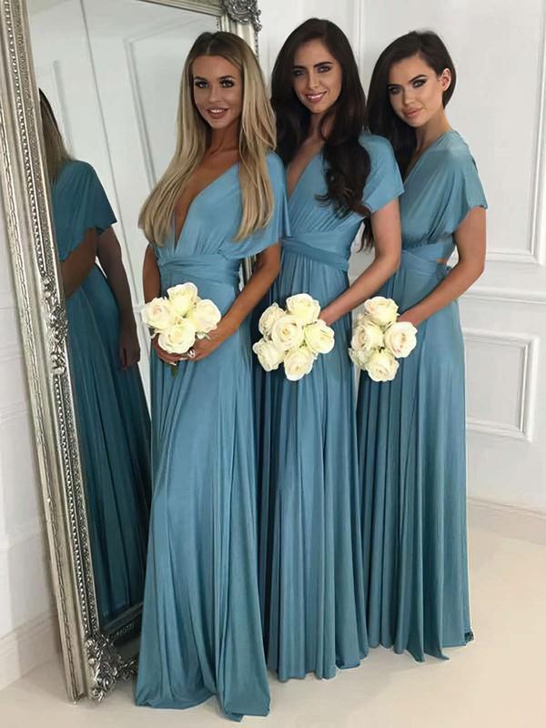 A-line V-neck Floor-length Jersey Bridesmaid Dresses #PDS01013620
