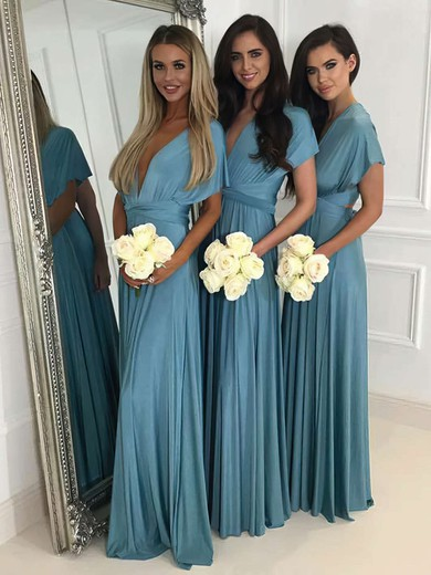 A-line V-neck Floor-length Jersey Bridesmaid Dresses #PDS01013620