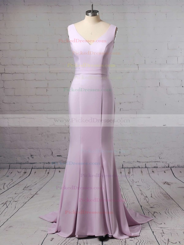 Trumpet/Mermaid V-neck Sweep Train Silk-like Satin Sashes / Ribbons Bridesmaid Dresses #PDS01013623