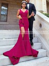 Trumpet/Mermaid V-neck Sweep Train Satin Split Front Bridesmaid Dresses #PDS01013624