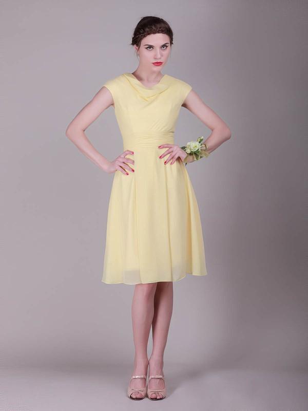 Chiffon A-line Cowl Knee-length Pleats Bridesmaid Dresses #PDS02042136