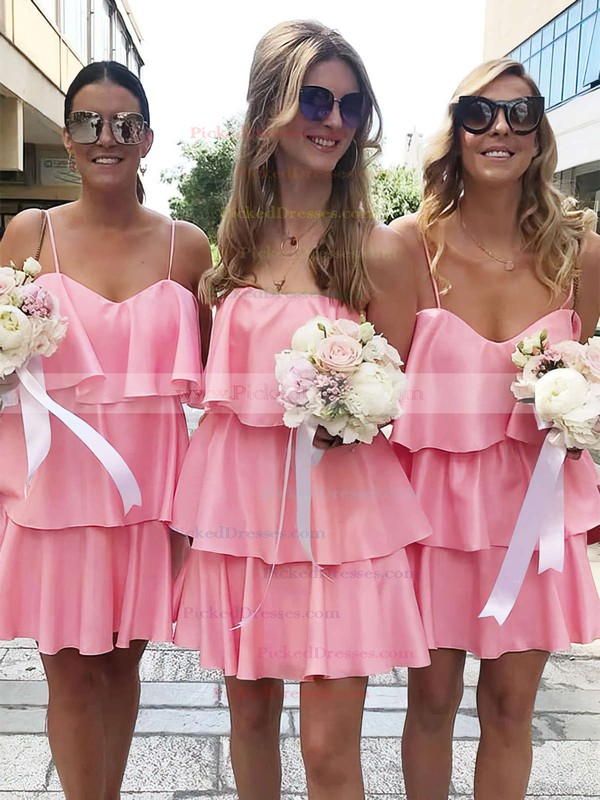A-line V-neck Short/Mini Silk-like Satin Ruffles Bridesmaid Dresses #PDS01013625