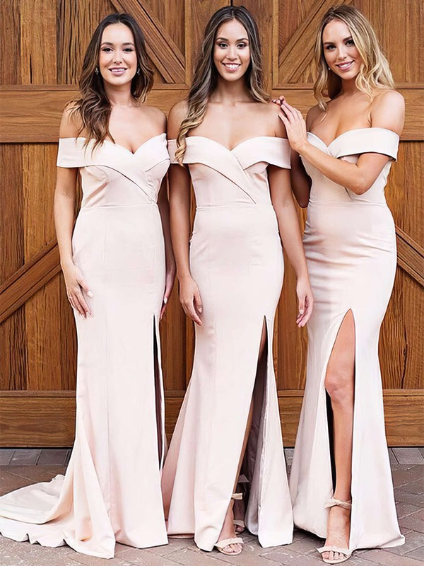Sheath/Column Off-the-shoulder Sweep Train Satin Split Front Bridesmaid Dresses #PDS01013626