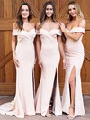 Sheath/Column Off-the-shoulder Sweep Train Satin Split Front Bridesmaid Dresses #PDS01013626