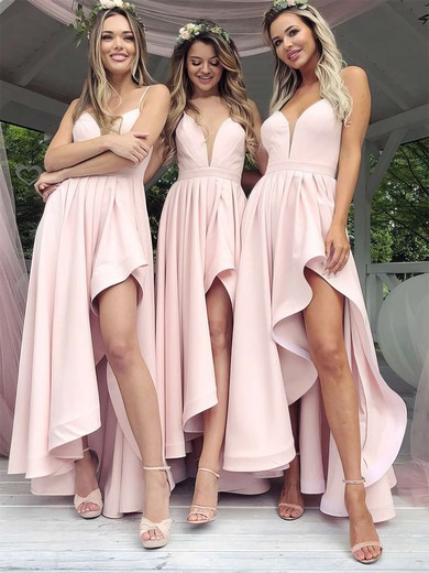 A-line V-neck Asymmetrical Satin Split Front Bridesmaid Dresses #PDS01013627